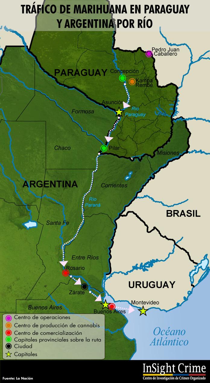 mapa de las rutas de marihuana en paraguay