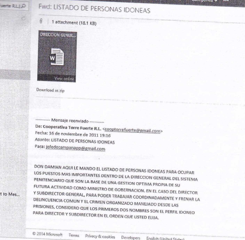 email Lima to Lopez bonilla