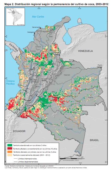 Mapa Colombia-cultivos de coca