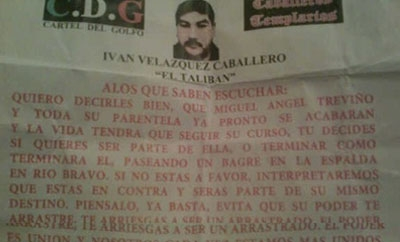 Narco-banner in Puebla, signed in name of El Taliban