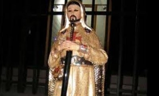 A shrine to Nazario Moreno Gonzalez, depicted in crusader's garb
