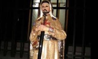 A shrine to Nazario Moreno Gonzalez, depicted in crusader's garb