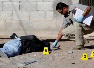 A crime scene in Ciudad Juarez, Mexico