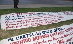 Banners signed by the Gulf Cartel