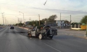 A car left behind after cartel battles in Reynosa