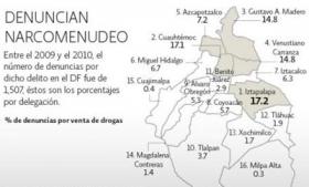 El Economista map of Mexico City drug dealing reports