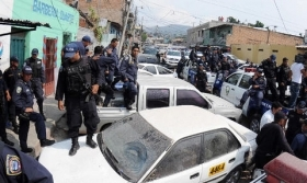 Honduran police on strike last week
