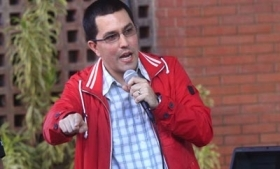 Venezuela VP Jorge Arreaza speaking in Zulia