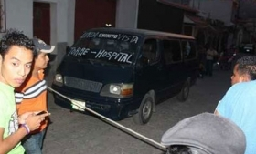 A crime scene where a transport worker was killed in Guatemala