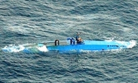 """A """"narco-sub"""" intercepted by the Coast Guard"""