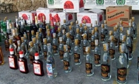 Contraband liquor seized by Colombian police