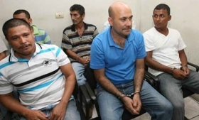 Jesus Sanabria Zamora (front, center) and other suspects
