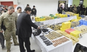 The arms and drugs seized by Paraguayan police