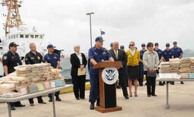 The US Coast Guard display a drug haul in Puerto Rico