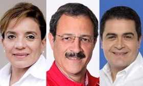 Election frontrunners Castro, Villeda and Hernandez