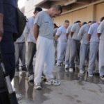 Prisoners line up at Cereso 3 jail in Juarez