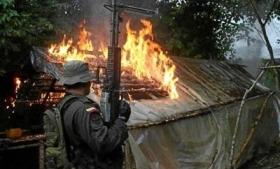 Colombian army destroys a FARC cocaine lab