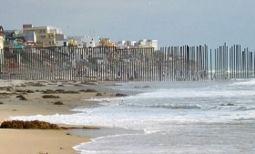 The sea border between San Diego and Tijuana