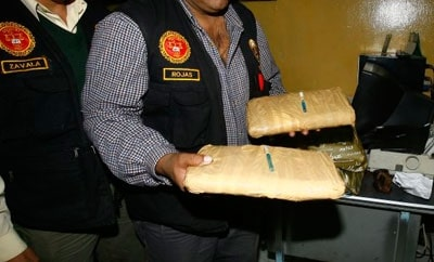 Cocaine seized from a bus travelling towards Desaguadero