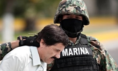 Joaquin 'El Chapo' Guzman on his perp walk