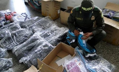 Contraband clothes seized in Colombia last year
