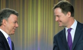 Juan Manuel Santos and Nick Clegg