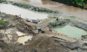 One of the gold extraction sites in Choco