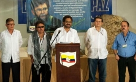 Leaders of the FARC negotiating team headed by
