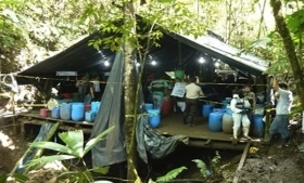 A cocaine lab discovered in Ecuador in 2010