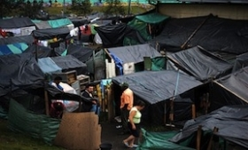 Internally displaced people at a makeshift camp in Bogota