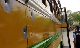 The bus attacked by gunmen