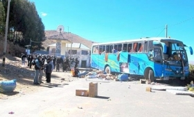 One of the buses caught in Puno