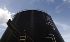 A Pacific Rubiales oil tank in Meta, Colombia