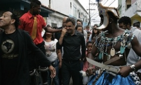 Presidential candidate Aecio Neves campaigning in a Rio favela