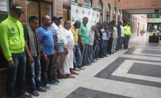 Alleged members of Colombia criminal gang in a line up
