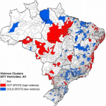 "Map of ""hot"" and ""cold"" spots for Brazil homicides"