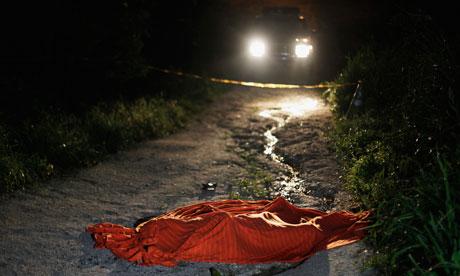 A crime scene in San Pedro Sula, murder capital of the world