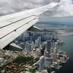 A plane approaching the Miami coastline