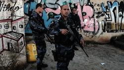 Police on patrol in Complexo do Alemão