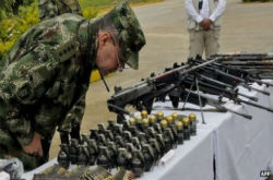 Weapons seized from Colombia's FARC