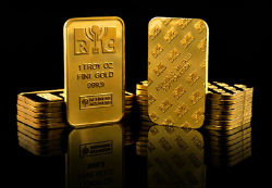 Stacks of gold obtained by a US company