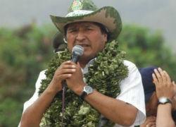 Bolivia President Evo Morales wearing a coca wreath