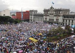Protestors in Guatemala City
