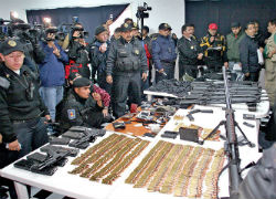 Weapons seized by Mexican authorities