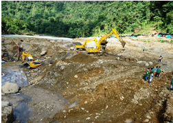 An illegal mining operation