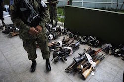 Firearms seized by El Salvador's military