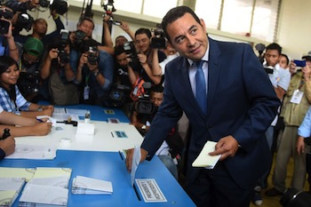 Guatemala's President-Elect Jimmy Morales Votes