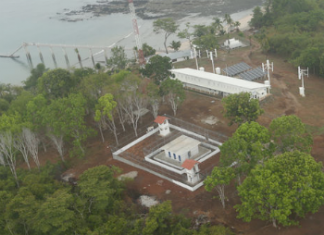 Aerial shot of Punta Coco prison
