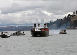 Bolivian forces patrol Lake Titicaca