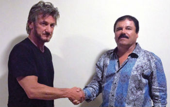 Sean Penn (left) shaking hands with